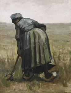 耕す農夫の女性