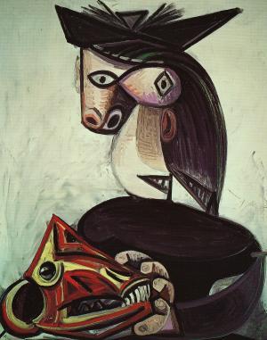 山羊の頭骨を持つ帽子の女