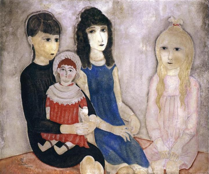 children-and-doll-藤田嗣治