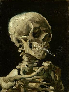 火の付いたタバコをくわえた骸骨